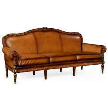 Burl and mother of pearl inlaid sofa three seater