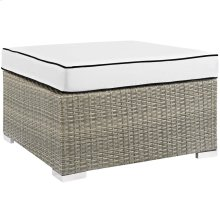 Repose Outdoor Patio Upholstered Fabric Ottoman in Light Gray White