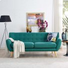 Remark Upholstered Fabric Sofa in Teal Product Image
