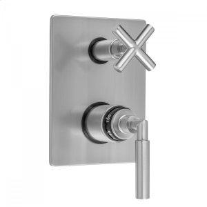Antique Brass - Rectangle Plate with Slim Lever Thermostatic Valve with Slim Cross Built-in 2-Way Or 3-Way Diverter/Volume Controls (J-TH34-686 / J-TH34-687 / J-TH34-688 / J-TH34-689) Product Image