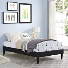 Tessie Twin Vinyl Bed Frame with Squared Tapered Legs in Black