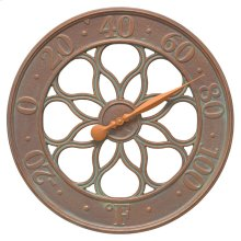 """Medallion 18"""" Indoor Outdoor Wall Thermometer - Copper Vedigris"""