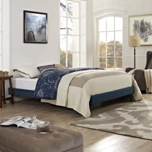 Loryn King Fabric Bed Frame with Round Splayed Legs in Azure
