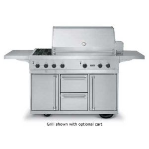 """Stainless Steel 53"""" Ultra-Premium T-Series Grill with TruSear & Side Burners - VGIQ (53"""" wide with two standard 25,000 BTU burners, one 30,000 TruSear infrared burner and double side burners (Natural Gas))"""