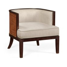 Tub chair with rattan matte, upholstered in MAZO