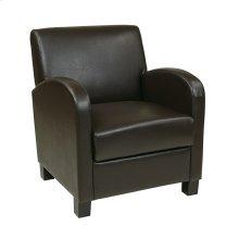 Club Chair In Espresso Bonded Leather With Espresso Legs