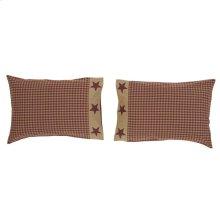 Ninepatch Star Standard Pillow Case w/Applique Border Set of 2 21x30