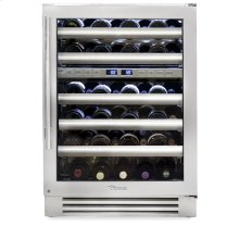 24 Inch Stainless Glass Door Dual Zone Wine Cabinet - Right Hinge Stainless Glass