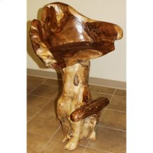 Teak Stump Barstool
