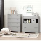 Changing Table and 4-Drawer Chest Set - Soft Gray Product Image