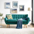 Remark Upholstered Fabric Loveseat in Teal Product Image