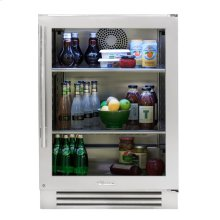 24 Inch Stainless Glass Door Right Hinge Undercounter Refrigerator