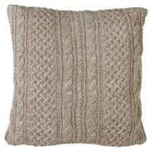 Tan & Ivory Marled Braided Cable Knit Floor Pillow with Leather Handle