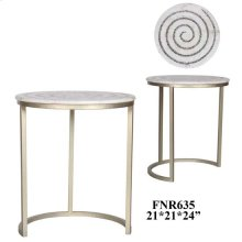 Bengal Manor White Marble and Mosaic Glass Swirl Accent Table