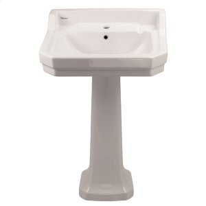 Isabella Collection large, traditional pedestal with an integrated rectangular bowl, back-splash, dual soap ledges, decorative trim, and overflow. Product Image