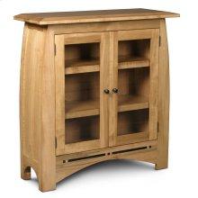 Aspen Short Bookcase, Glass Doors, Aspen Short Bookcase with Inlay, Glass Doors, 2-Adjustable Shelves