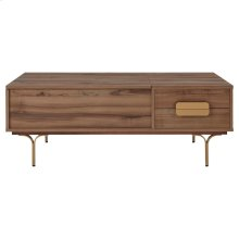 Avielle KD Lift-Top Rectangular Coffee Table w/ Storage and Drawer Gold Legs, Walnut