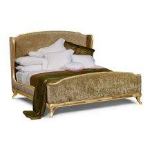 US King Louis XV Gilded Bed, Upholstered in Calico Velvet