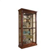 Lighted Sliding Door 5 Shelf Curio Cabinet in Cherry Brown