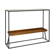 "Metal/wood 31"" 2-tier Consoletable, Wood Glass Black"