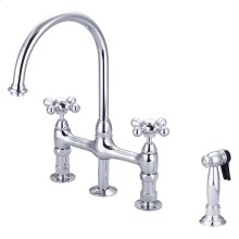 Harding Kitchen Bridge Faucet with Sidespray and Metal Button Cross Handles - Polished Chrome