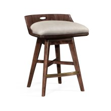 Natural Walnut Counter Stool, Upholstered in MAZO
