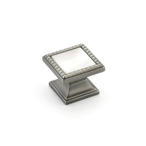 """Kingsway, Knob, Square, 1-1/4"""" dia, Antique Nickel, Champagne Glass Product Image"""