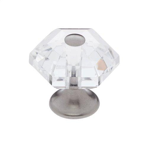 Satin Chrome 30 mm 6-Sided Crystal Knob