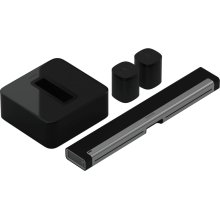 Black- A soundbar, subwoofer, and two rear speakers for vivid surround sound.
