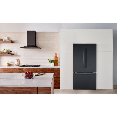 800 Series French Door Bottom Mount Refrigerator Black stainless steel