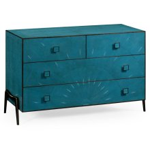 Teal Faux Shagreen and Bronze Legged Chest of Drawers