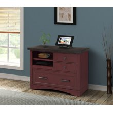 Americana Modern Cranberry Functional File with Power Center
