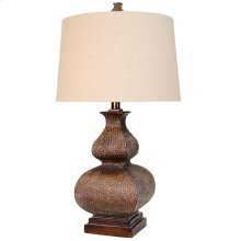 L36392  This Traditional Table Lamp Features A Hammered Bronze with Patina Finish & A Natural Linen Round Ha