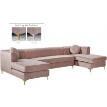 "Graham Velvet 3pc. Sectional - 132"" W x 65"" D x 31.5"" H"