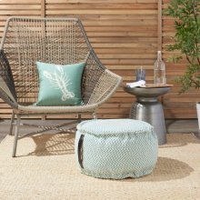 """Outdoor Pillow As220 Turquoise 20"""" X 20"""" X 12"""" Pouf"""