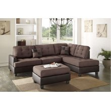 Brown Fabric two Tone Reversible Chaise Sectional with Ottoman Included