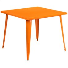 "Commercial Grade 35.5"" Square Orange Metal Indoor-Outdoor Table"