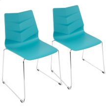 Arrow Sleigh Chair - Set Of 2 - Chrome, Turquoise Polypropylene