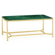 Rectangular Solid Brass & Green Napoly Marble Top Coffee Table