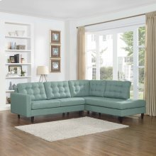 Empress 2 Piece Upholstered Fabric Right Facing Bumper Sectional in Laguna