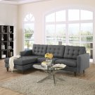 Empress Left-Facing Upholstered Fabric Sectional Sofa in Gray Product Image