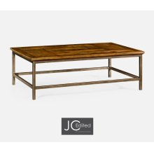 Country Walnut Rectangular Coffee Table with Iron Base