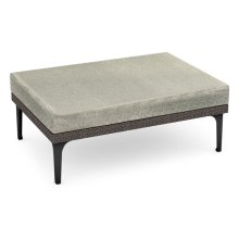 "42"" Outdoor Dark Grey Rattan Square Ottoman Sectional, Upholstered in Standard Outdoor Fabric"
