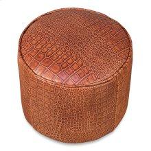 Round Footrest, Embossed Croc Tan Lthr