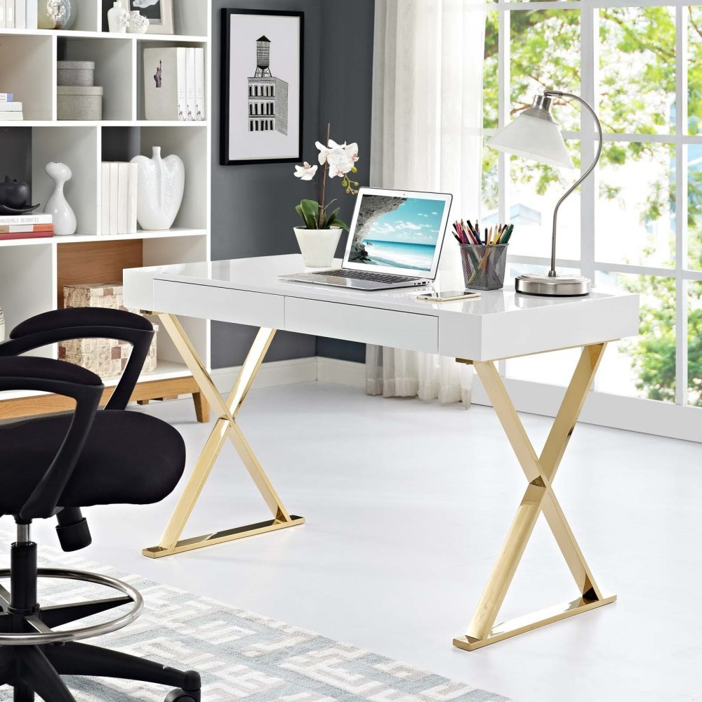 Sector Office Desk in White Gold