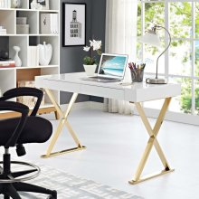 Sector Office Desk in White Gold