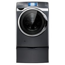 4.5 cu. ft. King-size Capacity, Touch Screen LCD Front-Load Washer (Onyx).  Sold only as a set (This is a Stock Photo, actual unit (s) appearance may contain cosmetic blemishes. Please call store if you would like actual pictures). This unit carries our 6 month warranty, MANUFACTURER WARRANTY and REBATE NOT VALID with this item. ISI 34493