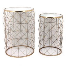 S/2 Round Gold Accent Tables, Mirror Top