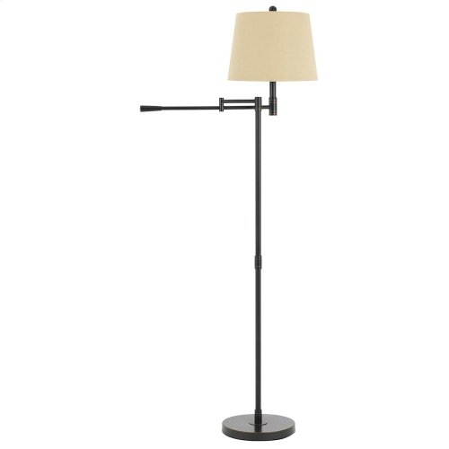 100W Monticello Metal Swing Arm Floor Lamp With Burlap Shade