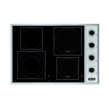 "Stainless Steel/Black Glass 30"" Induction/Radiant Cooktop - VCCU (30"" wide, 2 induction elements and 2 radiant elements)"
